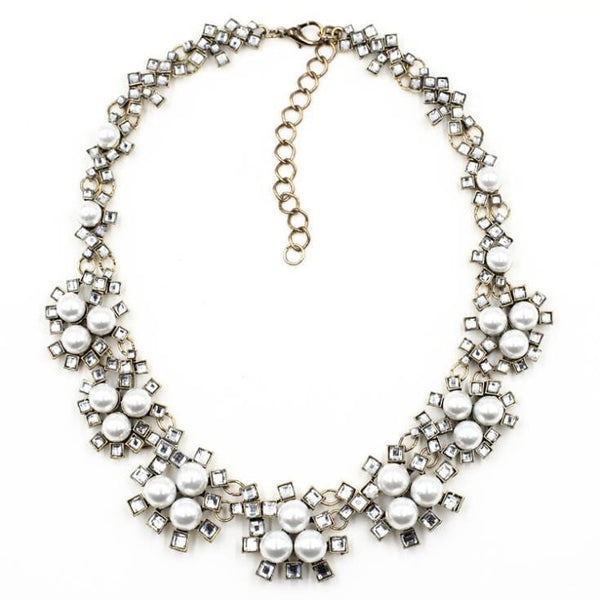 Sparklepop Grace Anne Pearl and Crystal Statement Necklace