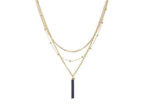 Gazel Thalia Layered Blue Tassel Necklace