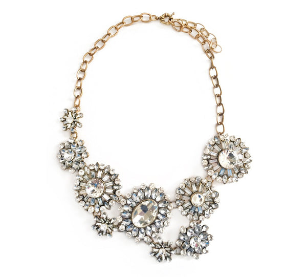 Sparklepop Clear Crystal Vintage Style Statement Necklace