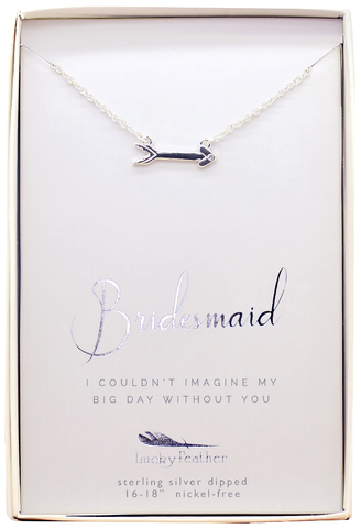 Lucky Feather Bridesmaid Thanks Necklace