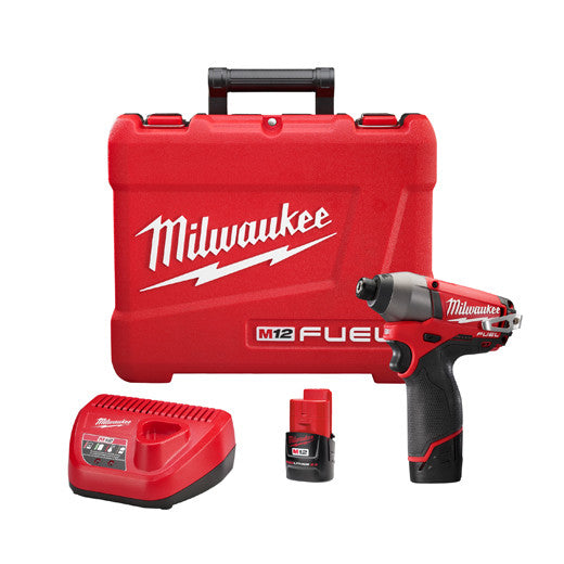 "2453-22 M12 Fuel 1/4"" Hex Impact Driver Kit with 2 Batteries"