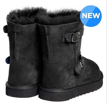 Boots - Kids Shearling Sheepskin Buckle Boot