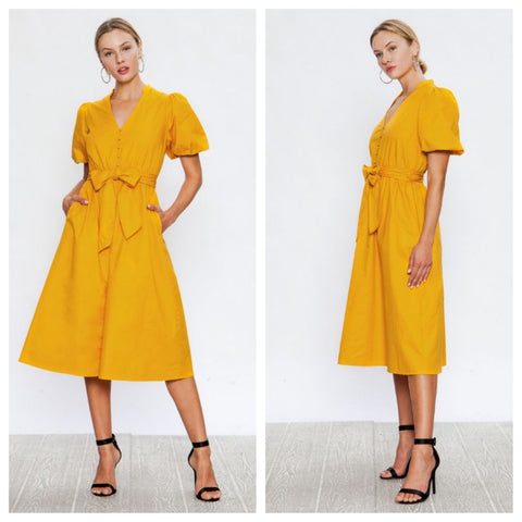 Lovely saffron yellow a-line shirt dress with kimono sleeves and hip pockets.