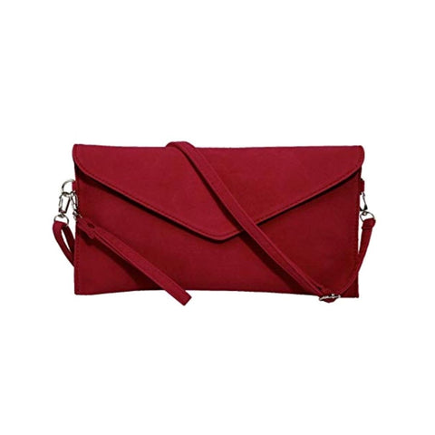 Vibrant dark red suede convertible purse clutch wristlet.