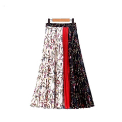 Classic abstract print a-line pleated midi skirt.