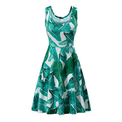 Pretty green and blue leaf print fit-and-flare sleeveless a-line dress.
