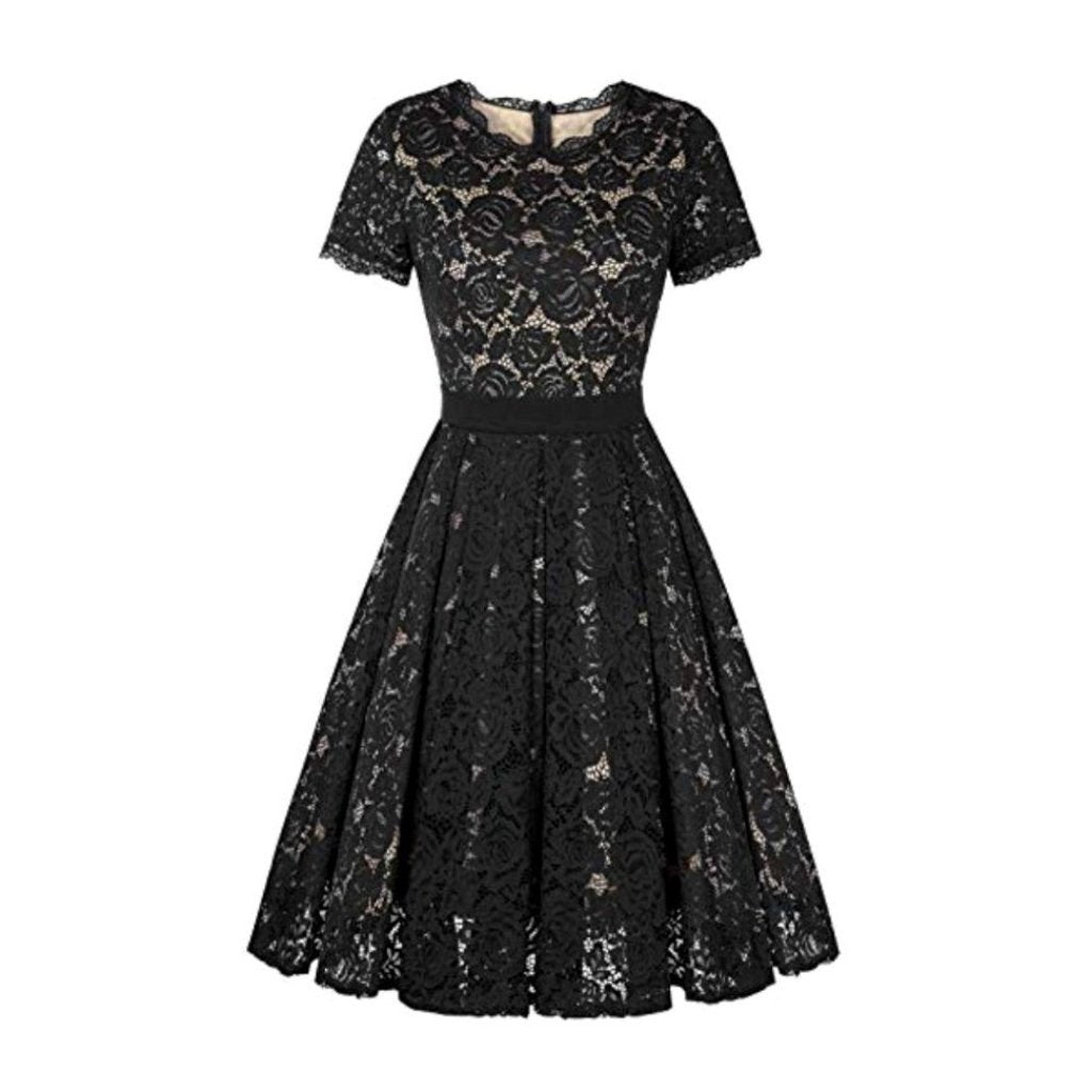 Stunning 1950's-inspired black illusion lace fit-and-flare party dress.