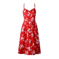 Lovely 40's-inspired red floral midi sundress.