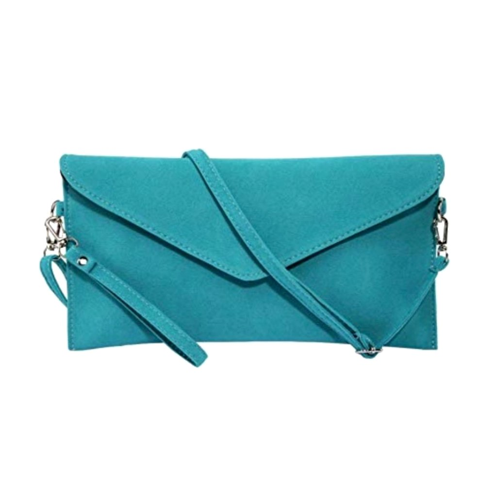 Vibrant teal suede convertible purse clutch wristlet.