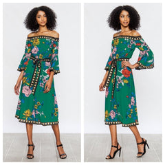 Lovely green floral-print off-the-shoulder midi dress.