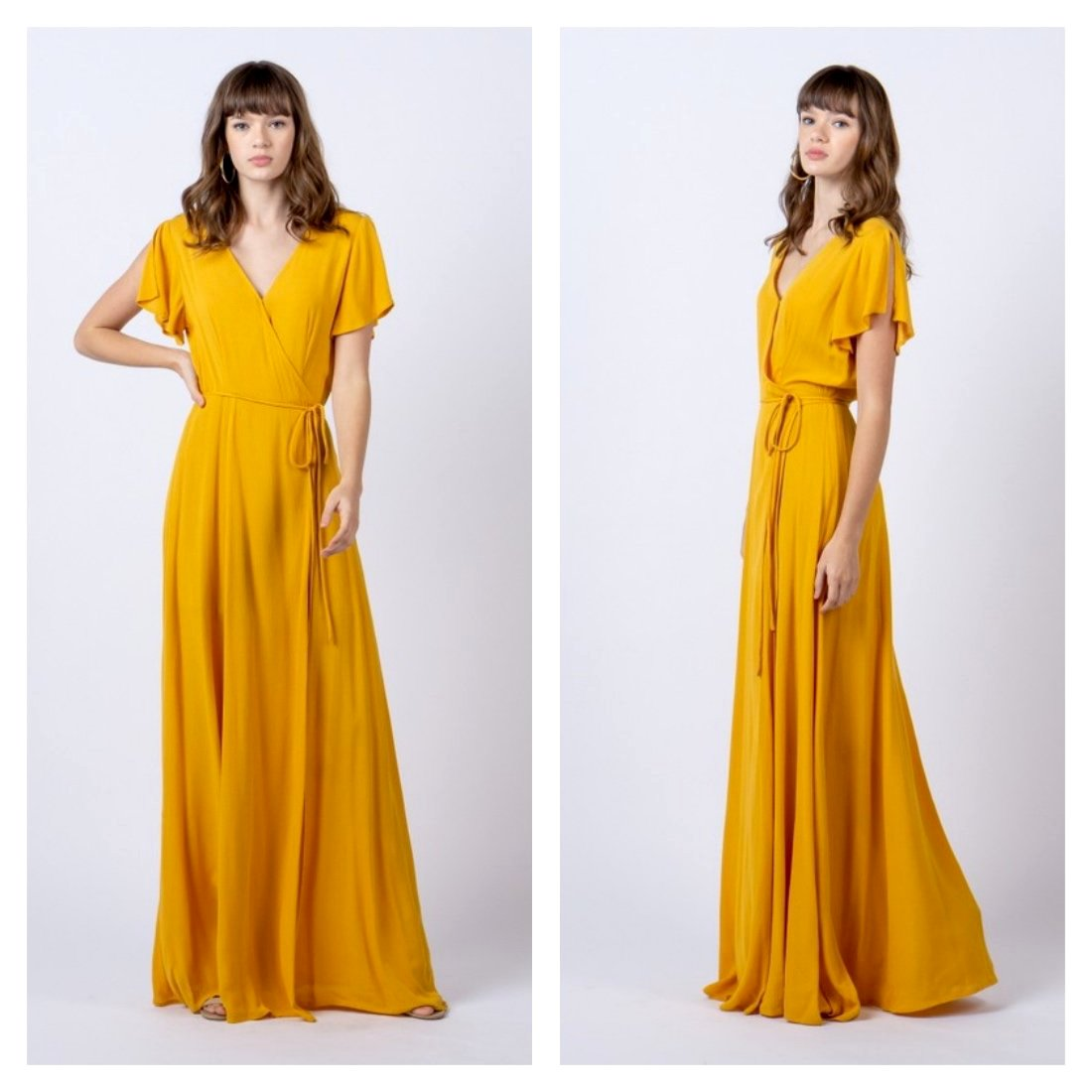 Vibrant golden yellow wrap maxi dress with flutter sleeves.