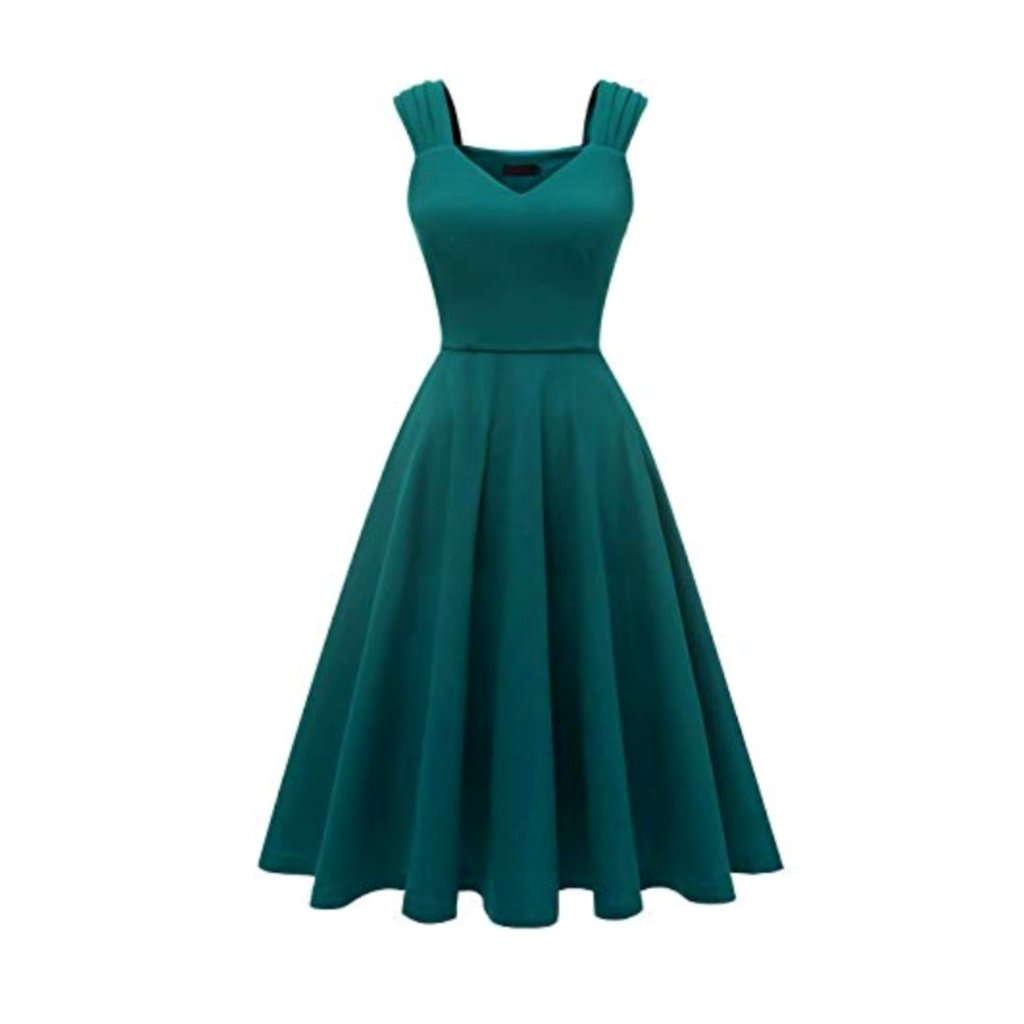Dark teal 1950's-style a-line tea dress.