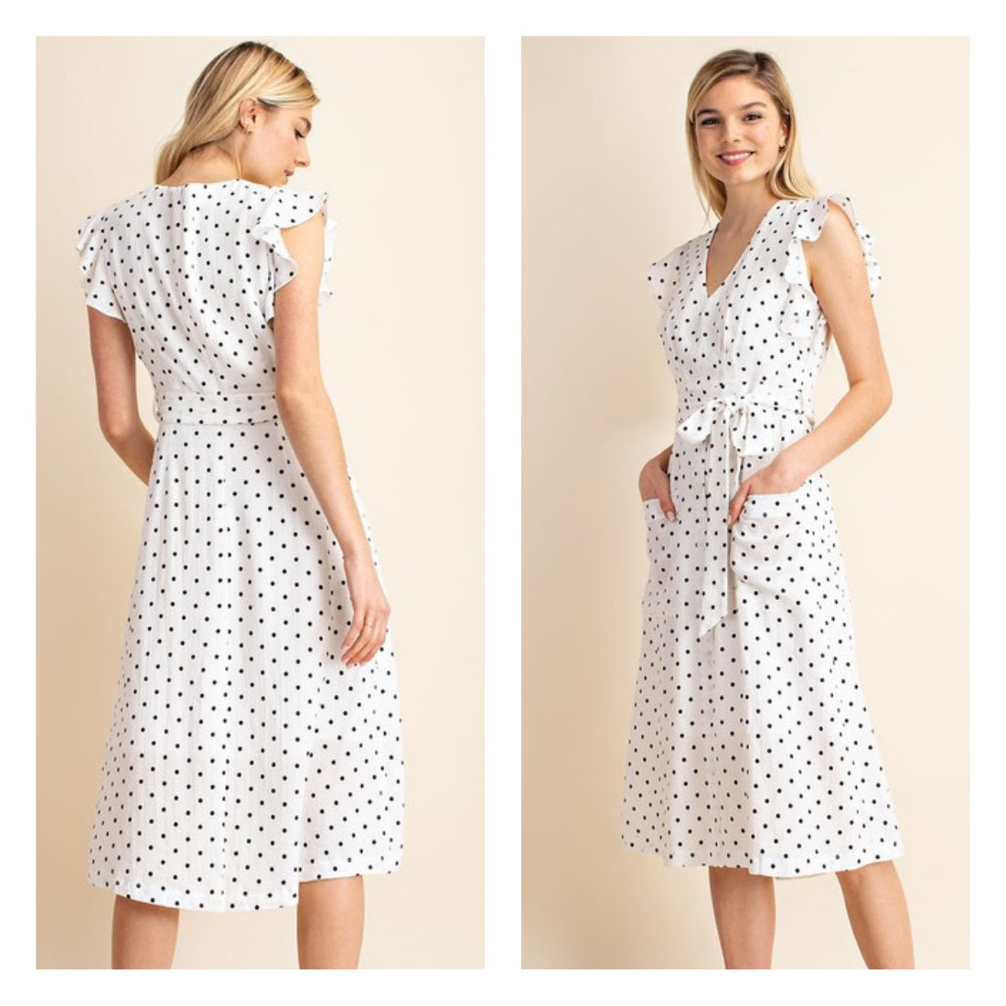 Classic white cotton polka dot a-line dress with pockets.