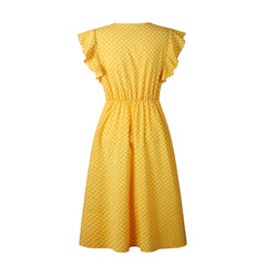 Lovely, 40's-style yellow and white polka dot a-line dress.