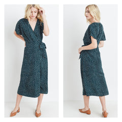 Teal polka dot print faux-wrap midi dress.