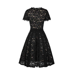 Black lace a-line dress.