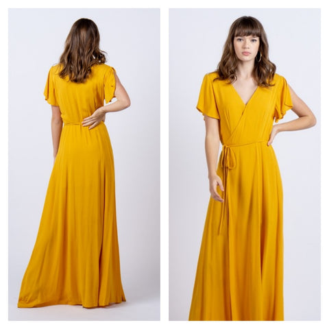 goldenrod wrap dress
