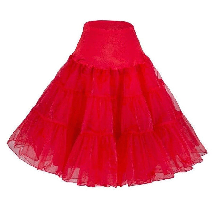 Essential knee-length crinoline/petticoat for all your retro party dresses! Medium fullness, elasticized waistband, one size fits xs through xl.