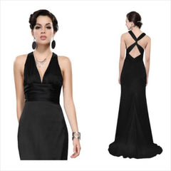 Exquisite onyx satin 1940s-inspired gown with a fabulous hourglass silhouette, deep neckline, and cross-over back straps.