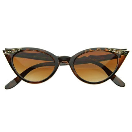 Classic, tortoise shell vintage-inspired cat-eye sunglasses with elegant rhinestone detail.