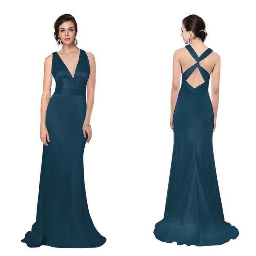Exquisite teal satin 1940s-inspired gown with a fabulous hourglass silhouette, deep neckline, and cross-over back straps.