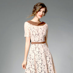 Vintage-inspired contrast lace midi dress with portrait collar.