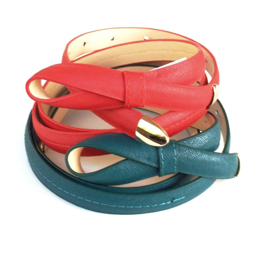 Fabulous faux leather skinny belt with gold-toned hardware.