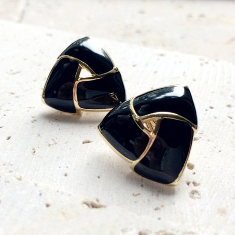 True vintage black and gold Monet earrings.