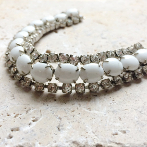 Vintage 1950's milk glass bracelet.