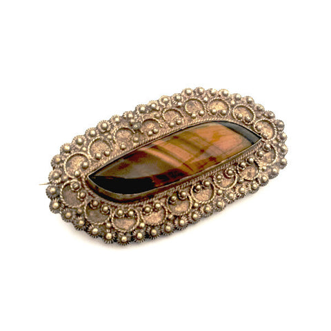 victorian tiger eye brooch, ca. 1900