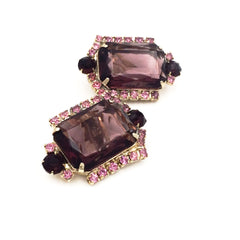 Vintage 1960's deep purple statement earrings.