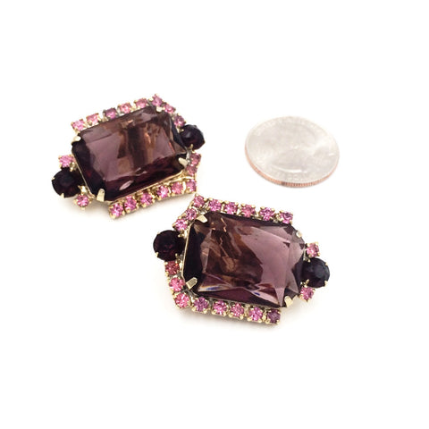 true vintage aubergine statement earrings