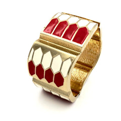 Art deco style red and white hinged bangle bracelet.