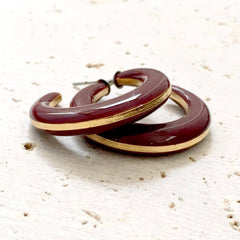 vintage merlot hoop earrings