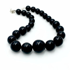 Classic vintage 1960's chunky black cocktail choker necklace.