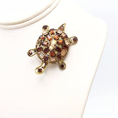 Darling vintage 1960's topaz and citrine turtle brooch.
