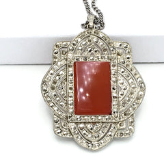 Exquisite true vintage 1930's art deco carnelian and marcasite pendant necklace.