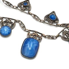 Stunning vintage 1920's blue moonstone art deco filigree necklace.