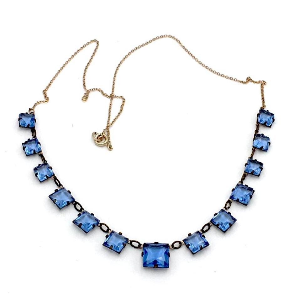 Stunning vintage 1920's art deco sapphire square necklace.