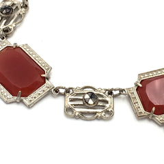 Delicate vintage 1920's art deco red carnelian and marcasite drop necklace.