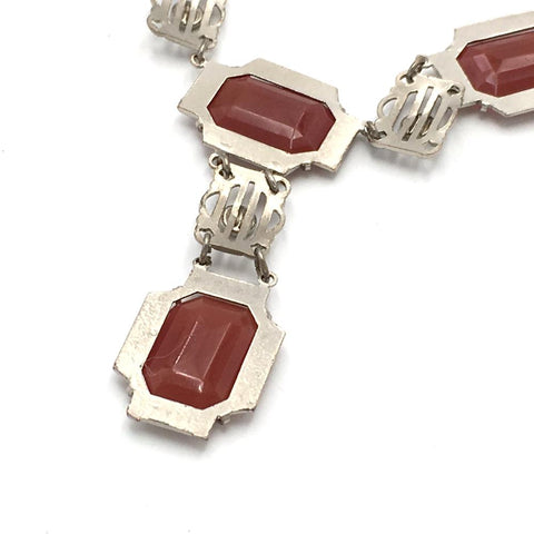 vintage 1920's carnelian drop necklace