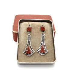 Lovely antique 1920's art deco carnelian drop earrings with original box.