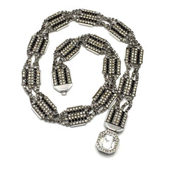 Striking true-vintage art deco-revival black and clear rhinestone necklace.