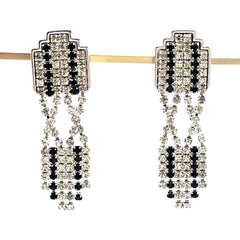 Stunning true vintage art deco-revival rhinestone dangle earrings.