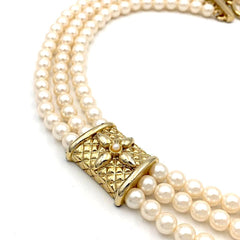 Classic true vintage 1960's multi strand faux ivory pearl necklace.
