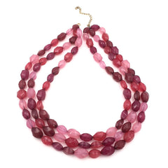 Lovely true vintage 1960's multi-strand pink, rose and purple cocktail necklace.