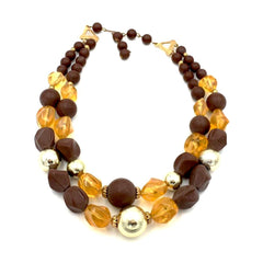 Spectacular true vintage 1960's chunky amber and gold cocktail necklace.