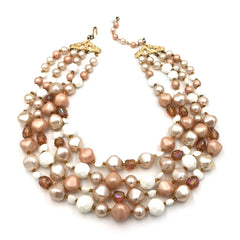 Spectacular true vintage 1960's multi-strand cocktail necklace in shades of ivory, amber and mauve.