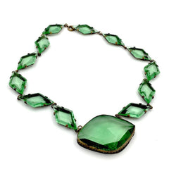 Exquisite antique 1920's art deco green faceted Czech glass necklace.