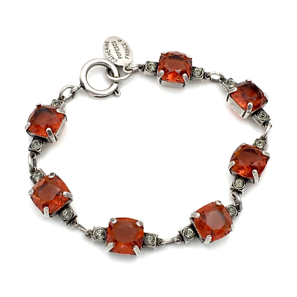 True vintage Catherine Popesco France red glass and rhinestone bracelet.